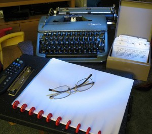 A writer's setup for NaNoWriMo (photo courtesy Wiki Commons by mpclemens from Pleasant Hill, United States.