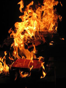 "Do some books make you want to toss 'em in the burn pile so you never have to see 'em again? (Source: ""Book burning"" by Patrick Correia , via WikiCommons)"
