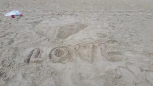 My beach art - a heart and some LOVE